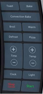 Control panel view of Oster large digital convection toaster