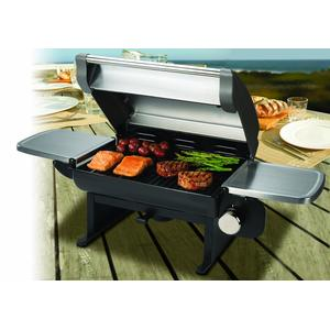 Tabletop placement of Cuisinart All-Foods Portable Outdoor Propane Gas Grill