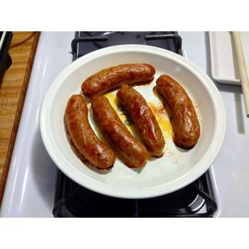 Photo of sausage heated with the best infrared toaster oven